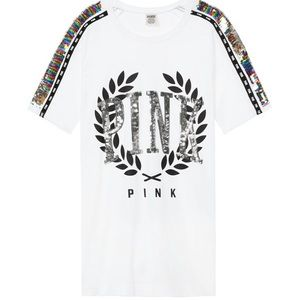 Victoria's Secret pink bling campus sleeve tee